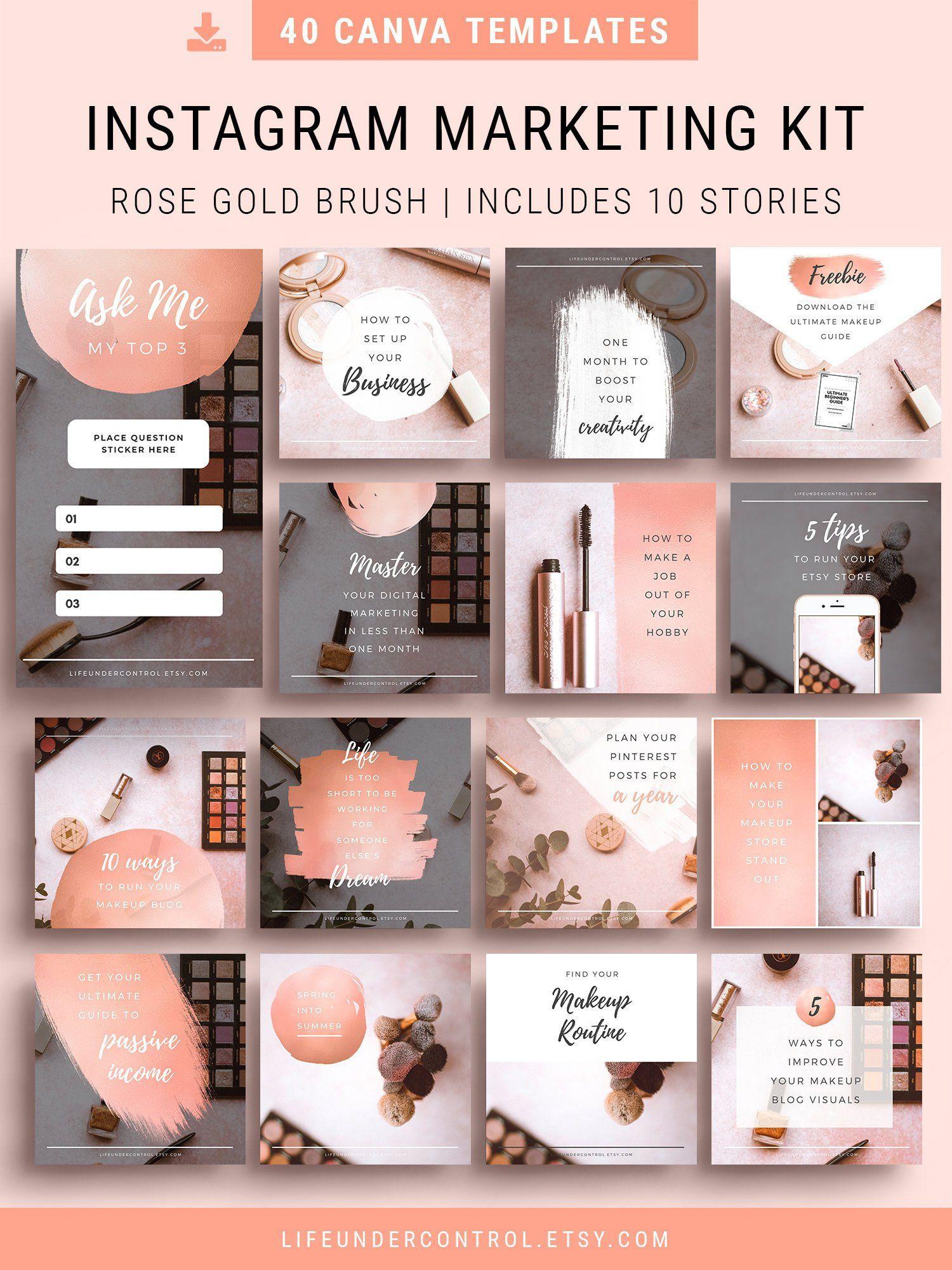 Rose Gold Instagram Kit   40 Editable Canva Templates