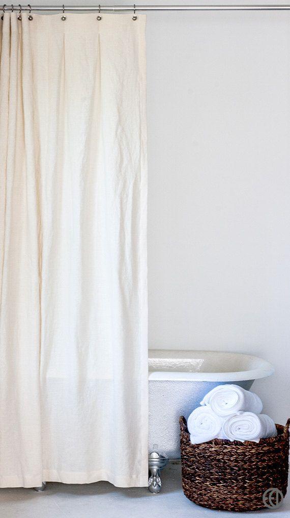 Extra Long Hemp Shower Curtain