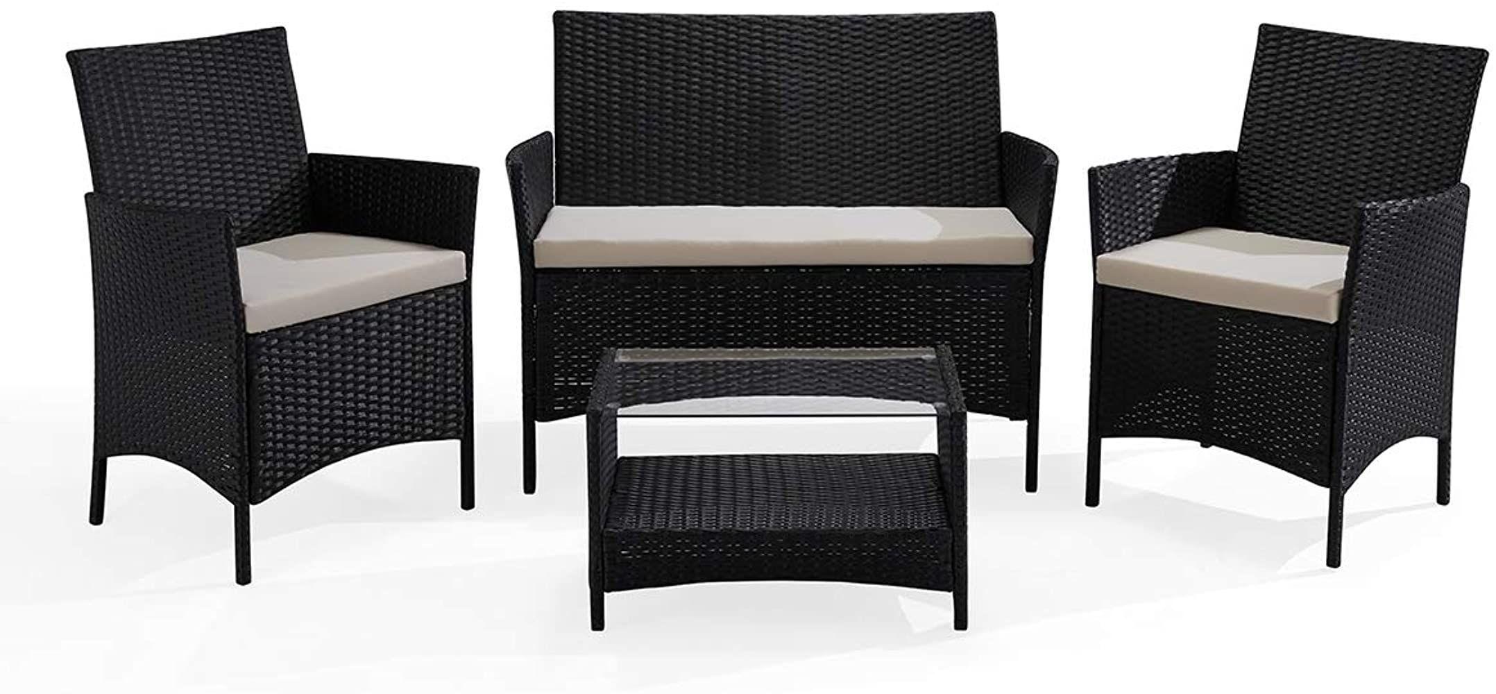 Poly Rattan Garnitur Sitzgruppe Gartenmöbel Sitzgarnitur Essgruppe Lounge Balkon