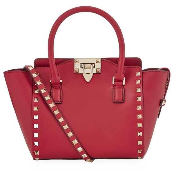 Valentino Mini Rockstud North/South Tote (4.500 BRL) ❤ liked on Polyvore featuring bags, handbags, tote bags, shopping bag, tote handbags, valentino tote, red handbags and mini tote