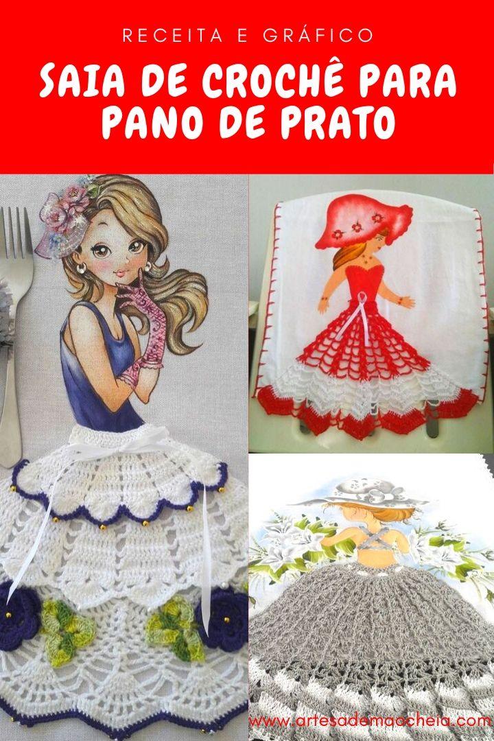 Saia De Croche Para Bonecas Em Pano De Prato Passo A Passo Completo Panos De Prato Bonecas Saia De Croche