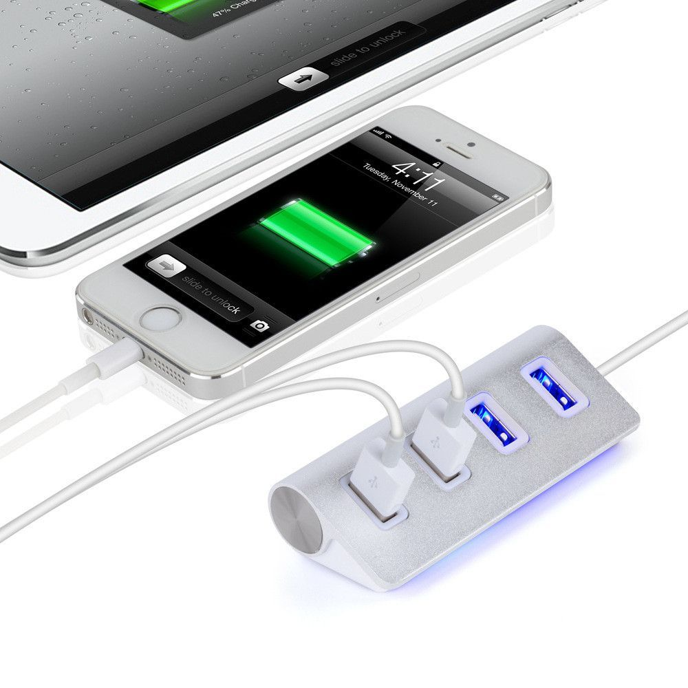 USB 2.0 High Speed Mini 4 Port Hub For PC Mac Laptop Desktop Notebook Computer