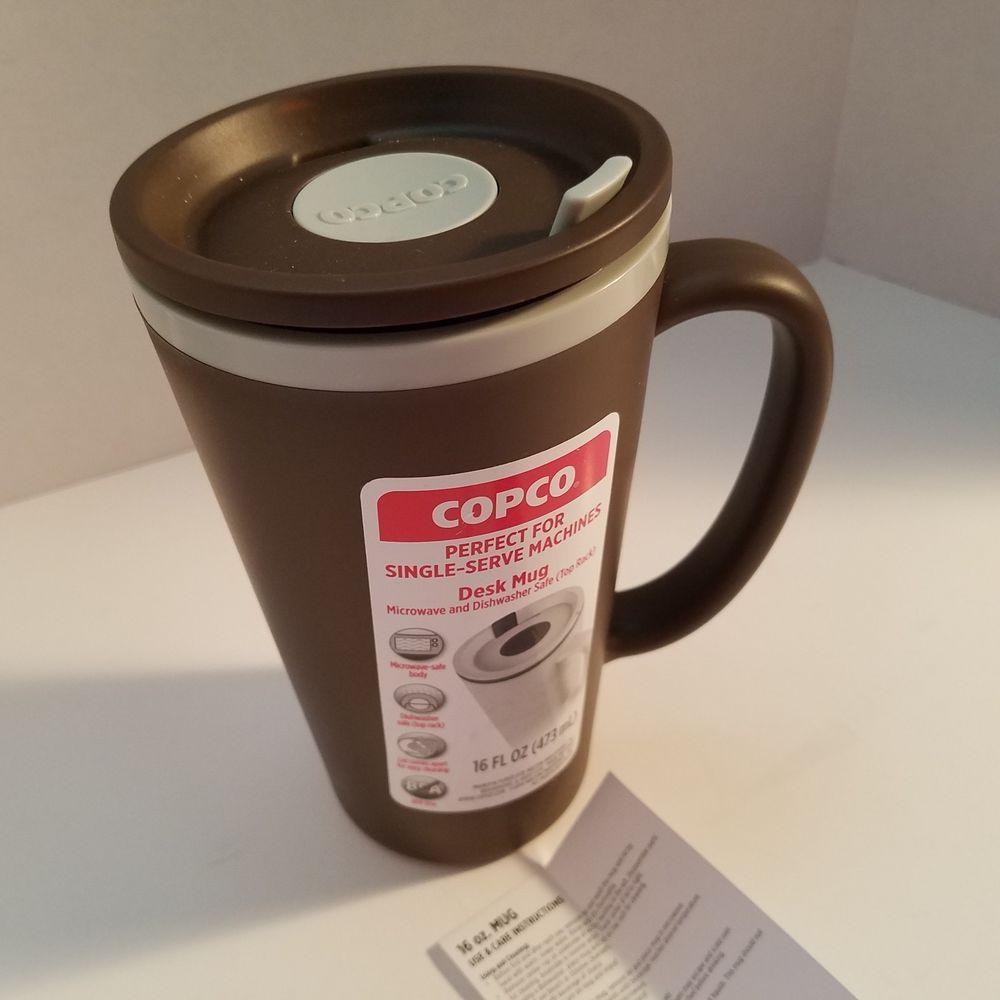 Copco Cone Double Wall Travel Desk Mug 16 Oz Slide Lid Cup Brown New
