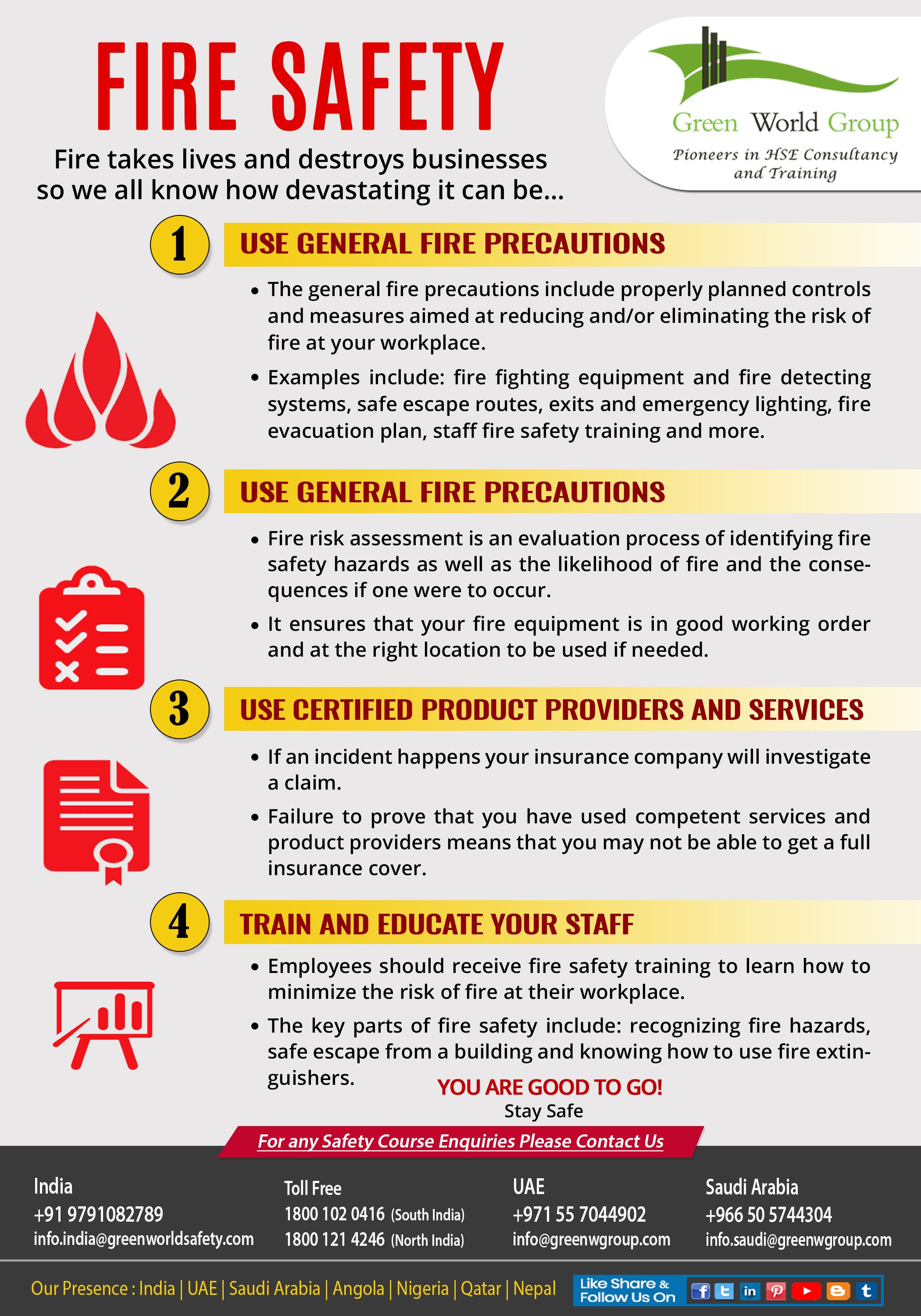 The general fire safety tips that are targeted at the