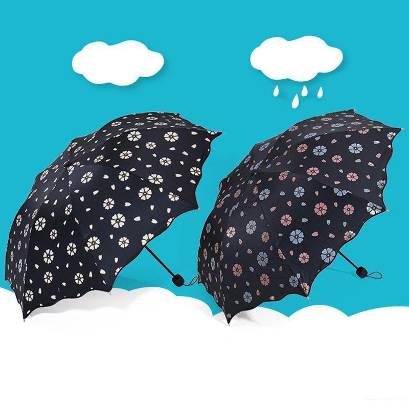 Fashion Flower Color Changing Magic Umbrella  Folding Windproof Umbrella Anti Uv sun/rain Princess Umbrella Parasol Gift #Affiliate