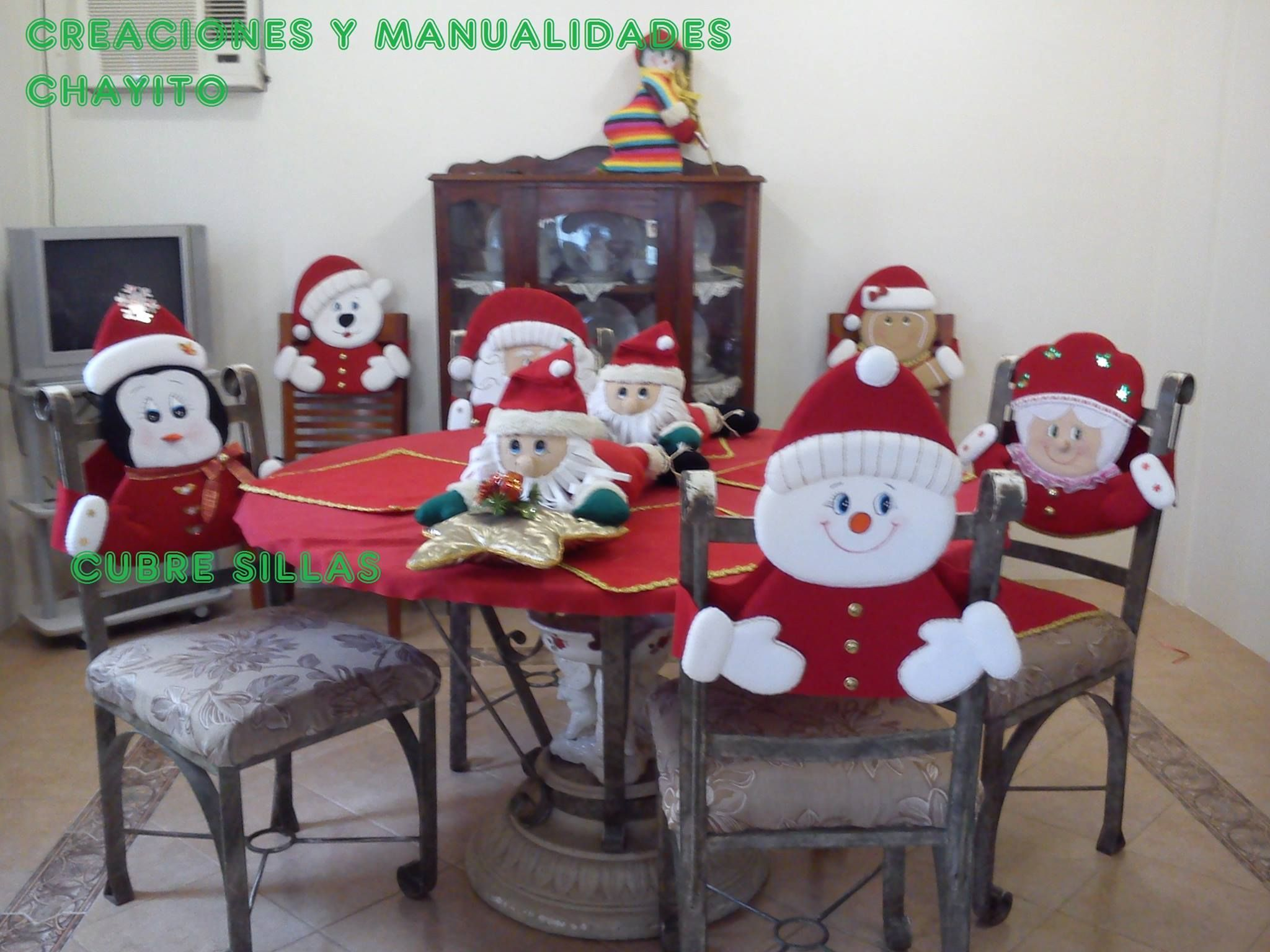 Sillas seat covers pinterest navidad xmas and craft for Decoracion navidad