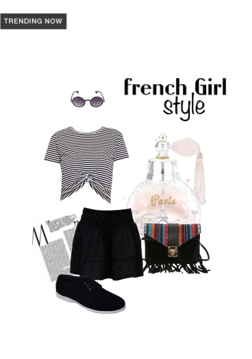 'French Girl Style' by me on Limeroad featuring Stripes Multi Color Tops with Black Skirts