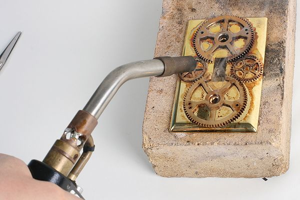 Soldering brass with a torch - Steampunk Decor