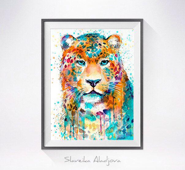 Jaguar Growling Panther Canvas Art Print By: Panther Leopard Jaguar Watercolor Painting Print By
