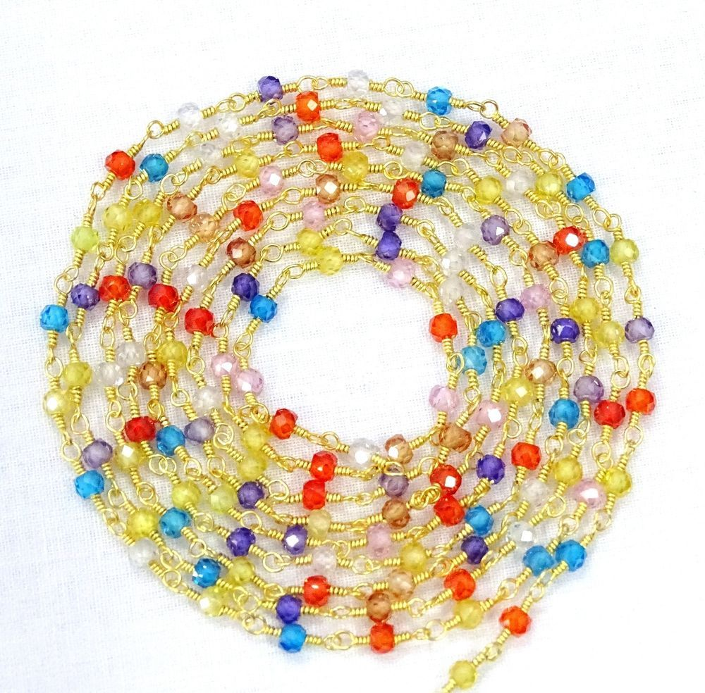 5 Feet Multi Color Faceted Zircon Beads 3 mm 24k Gold Plated Wire Wrapped Chain. #Devgemsandjewelry #FacetedChain