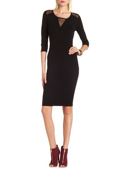 Mesh Inset Body-Con Midi Dress: Charlotte Russe