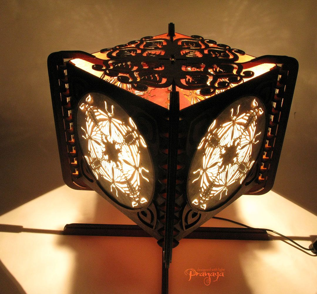 Decorative wooden artistic shadow lamp with by pranayadesign