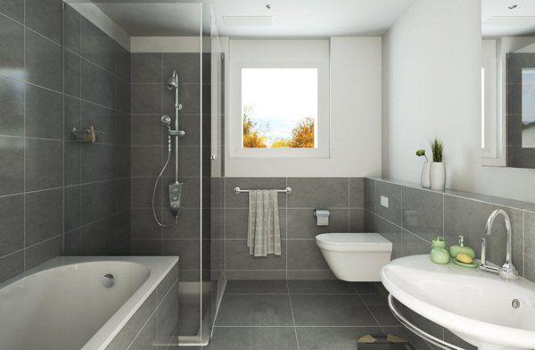 Salle de bain grise et blanche bois recherche google bathtoom pinterest - Idee salle de bain grise ...