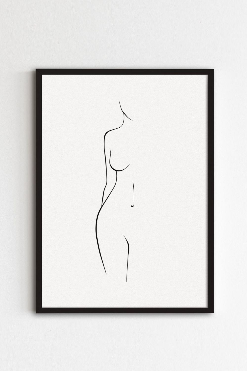Minimal Line Woman Body Art, Minimalist Nude Art, Woman Body Shape Art, Body Outline Print, Naked Female Wall Art, Abstract Figure Poster