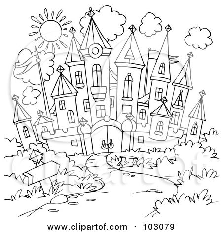 Royalty Free RF Clipart Illustration Of A Coloring Page Outline Winding Path Leading To Castle By Alex Bannykh