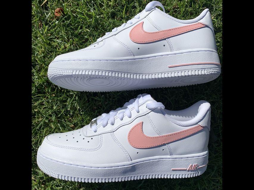 Pink Swoosh Air Force 1 by hargitaycustoms in 2020 Nike