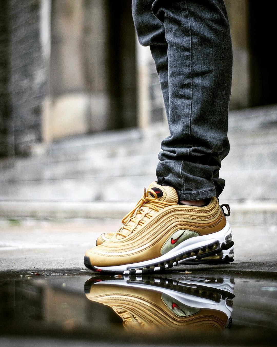 Nike Air Max 97 Og Qs Metallic Gold Women Sport Sneakers Nike Air Max 97 Running Shoes For Men