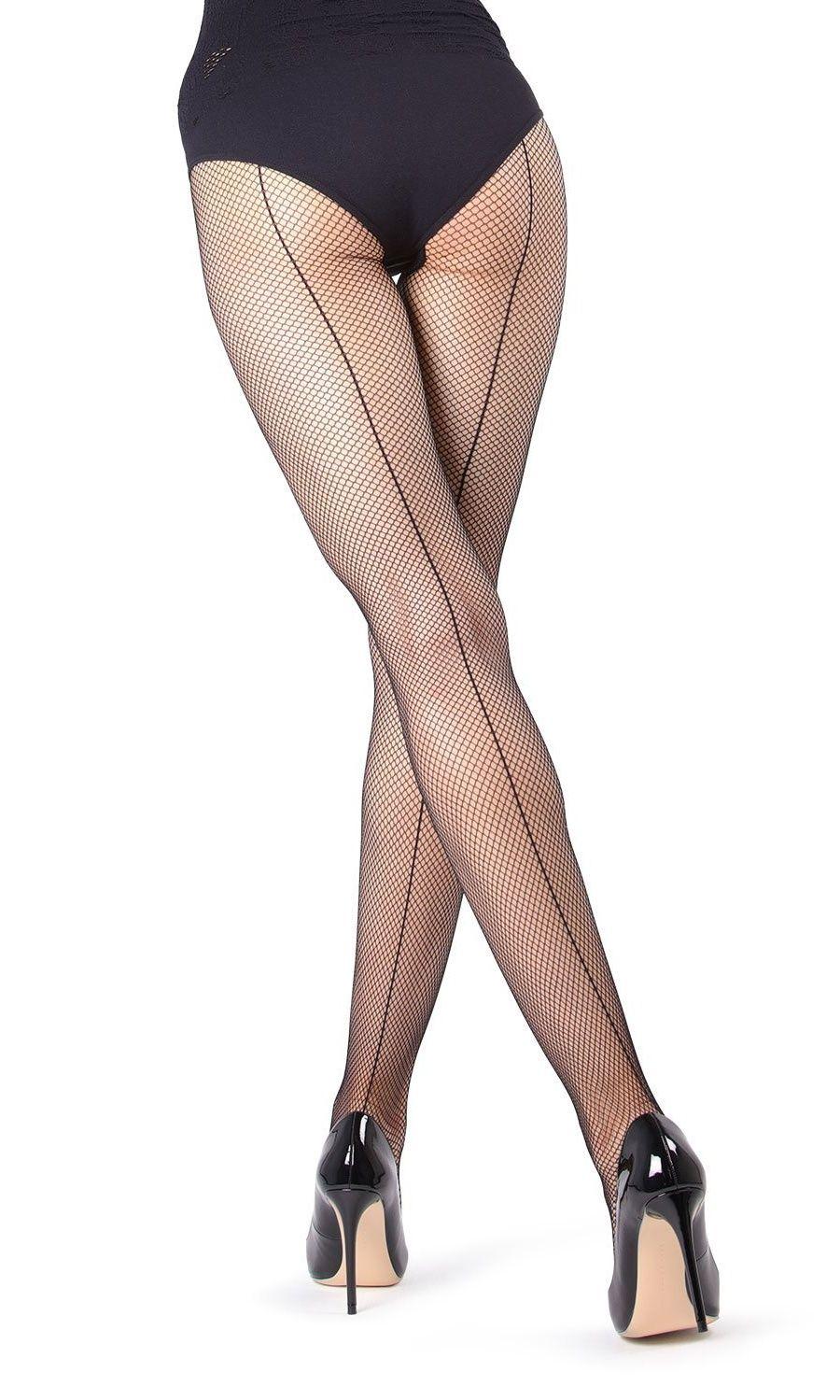 ea61d1ff00a MeMoi Backseam Fishnet Tights- Nice Sexy Tights for Women by MeMoi  Medium Large   Black MO 337 Tights