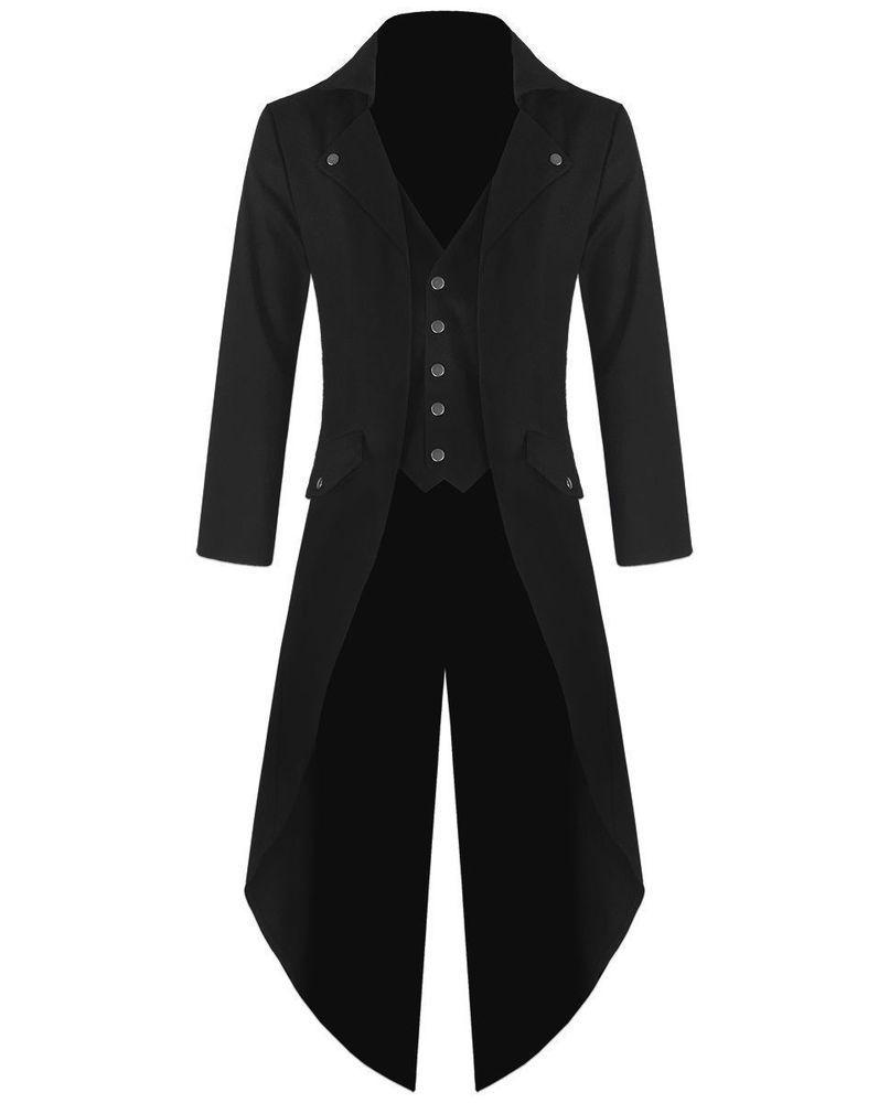 Men Steampunk Military TRENCH COAT LONG JACKET BLACK GOTHIC VTG