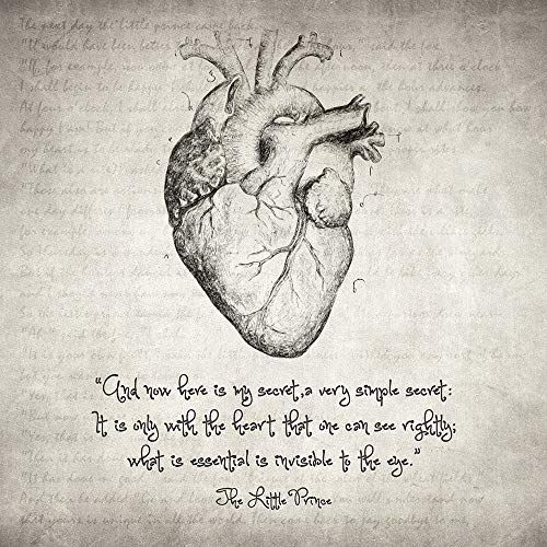 Zapista The Little Prince Heart Quote Drawing Fine Art Print Vintage Nursery Love Poster Home Wall Decor Unframed (12