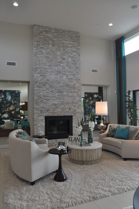 Living Room With Fireplace Design Ideas: Contemporary Living Room With Floor To Ceiling Light Grey