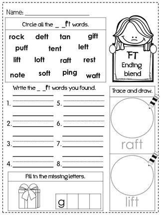 freebie ending blends practice phonics worksheets fun with literacy my tpt pinterest. Black Bedroom Furniture Sets. Home Design Ideas
