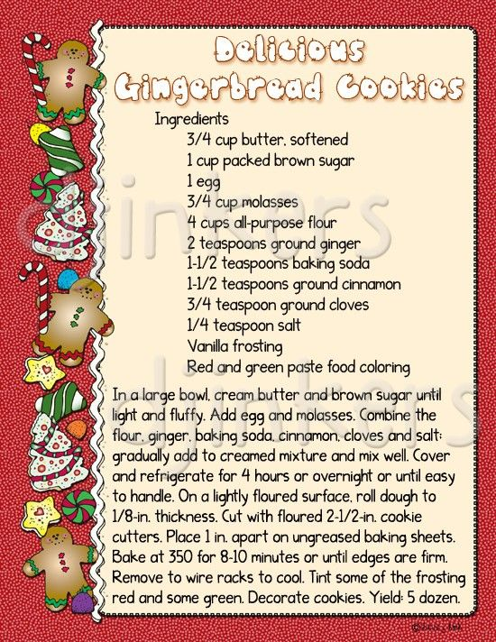 Gingerbread Cookies Recipe Christmas Clip Art Border Cute