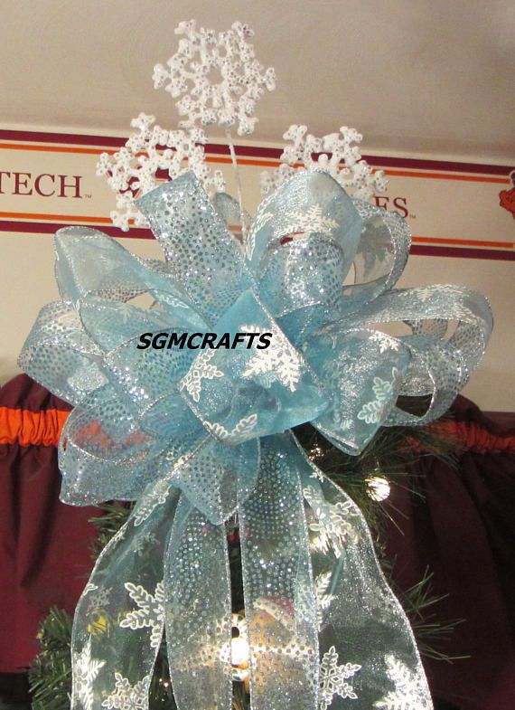 Blue Snowflake Wired Ribbon Christmas Tree Topper Bow Frozen ...