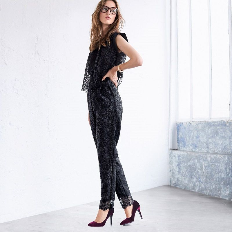 combi pantalon de soir e dentelle noir mademoiselle r. Black Bedroom Furniture Sets. Home Design Ideas