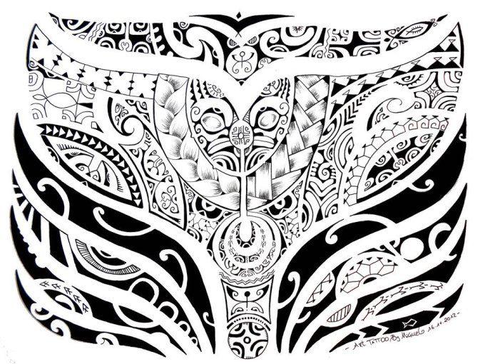Coloriage Queue De Baleine.Dessin De Tatouage Maori Polynesien Impressionnant Et Qui Represente