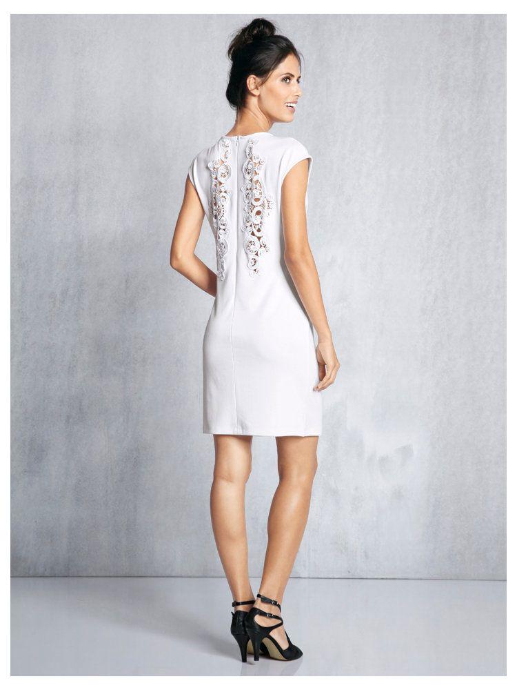 Robe bustier blanche longue dentelle ajouree - la robe longue