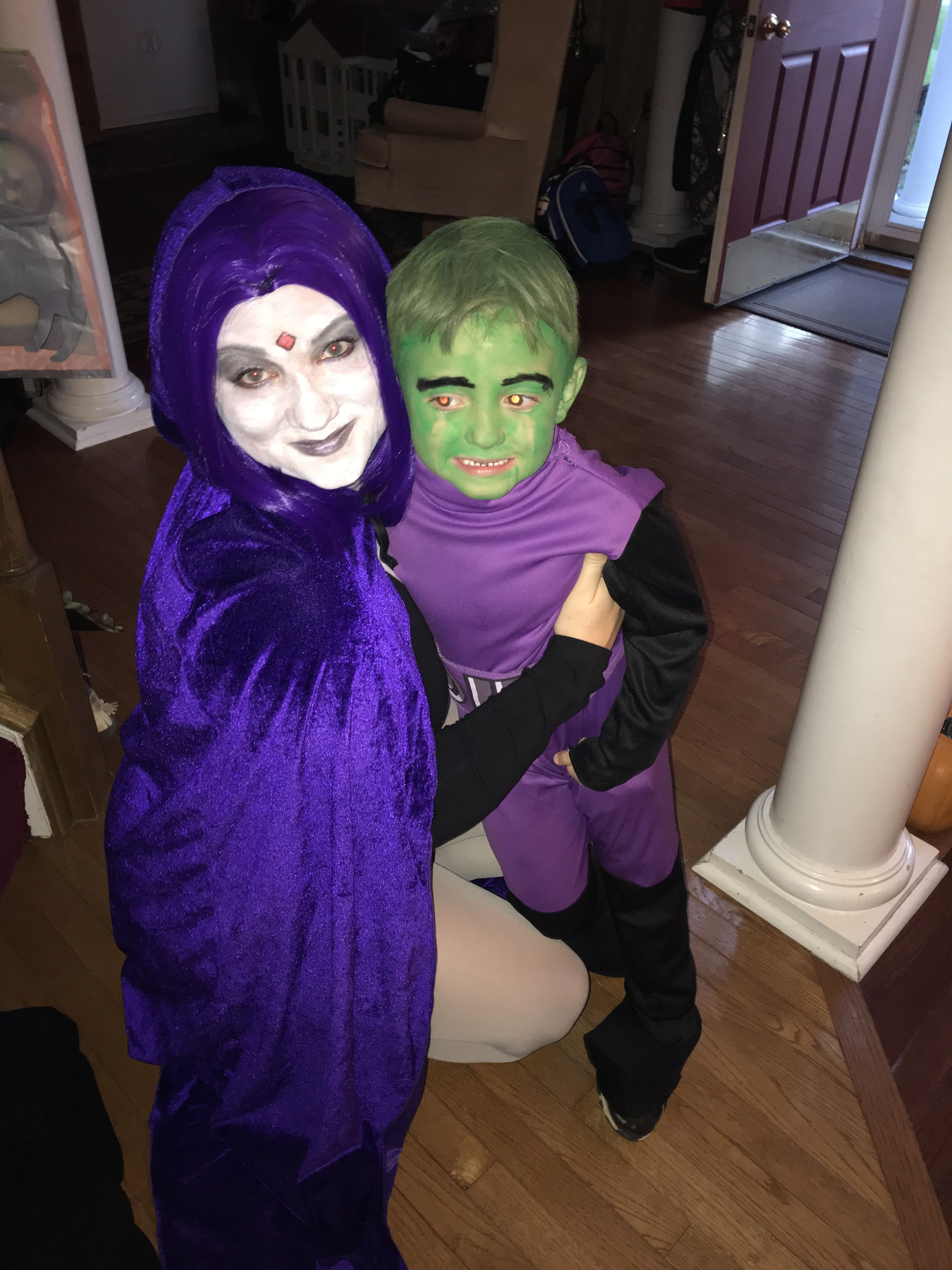 raven and beast boy (mom and son) | halloween family costume ideas