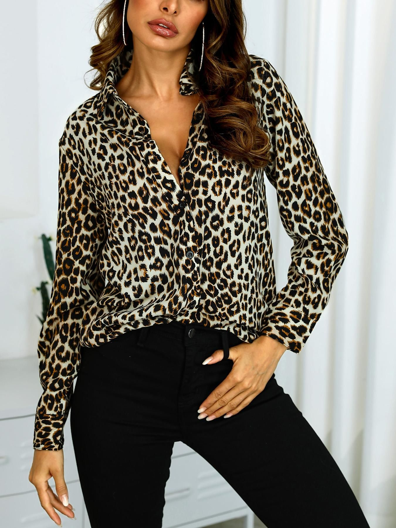 Long Sleeve Leopard Print Casual Shirt Casual Shirts Printed Shirt Outfit Casual Shirt Women [ 1800 x 1350 Pixel ]
