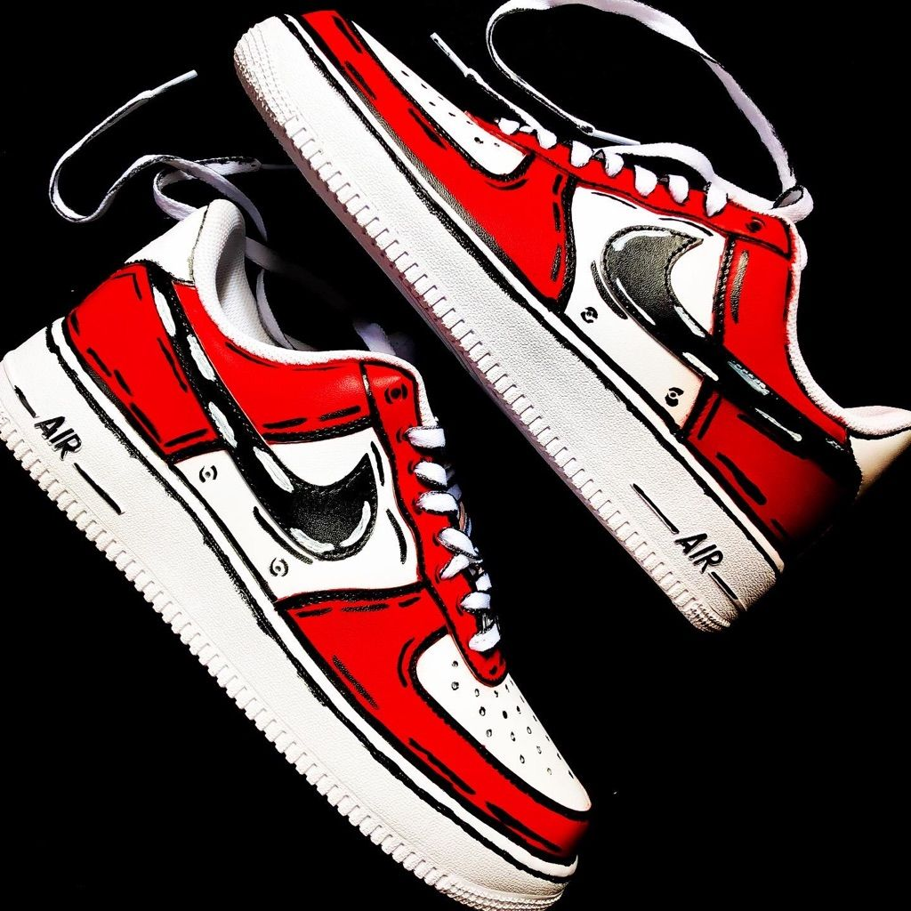 Nike Shoes Air Force One Chicago Cartoon Custom Color Red White Size Various Nike Shoes Air Force Air Force Ones Custom Sneakers Diy