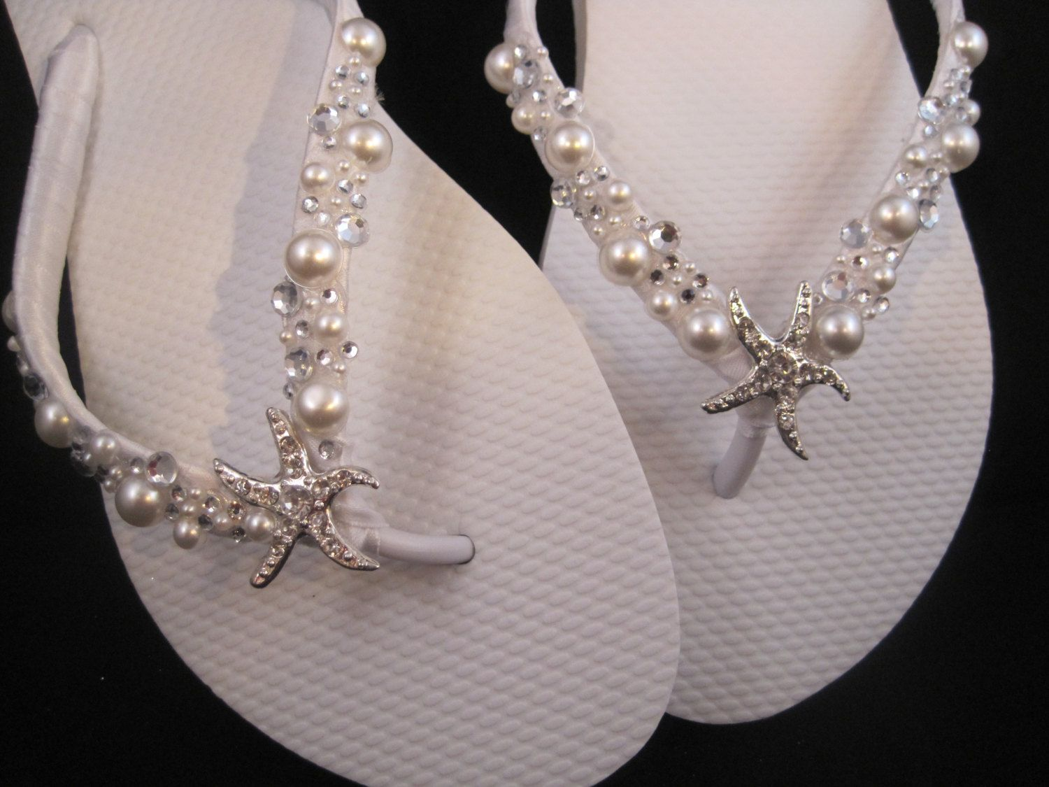 4563ee3c90a8 NEW 2013 So Sweet Bride Shoshanna Starfish Pearl and Swarovski Crystal Bridal  Wedding Flip Flops.  34.95