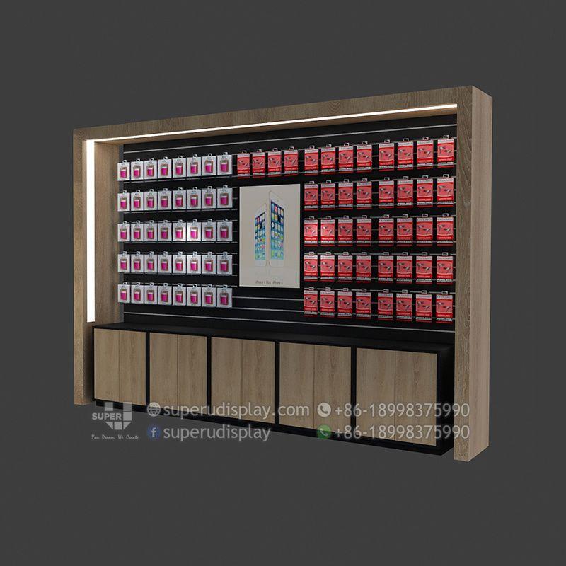 Exhibidor De Madera Con Almacenamiento Para Telefonos Moviles