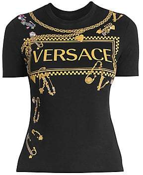 Versace Women S Jersey Logo Tee Fashion Clothes Women Versace Printed Silk Shirt