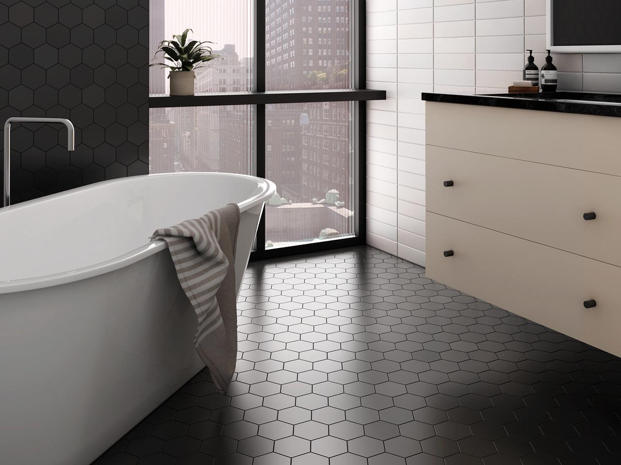 Kromatika 5 X 4 Black Matte Finish Hexagon Porcelain Floor Wall Tile 5 97 Per Square Foot In 2020 Black Tile Bathrooms Bathroom Inspiration Tile Bathroom