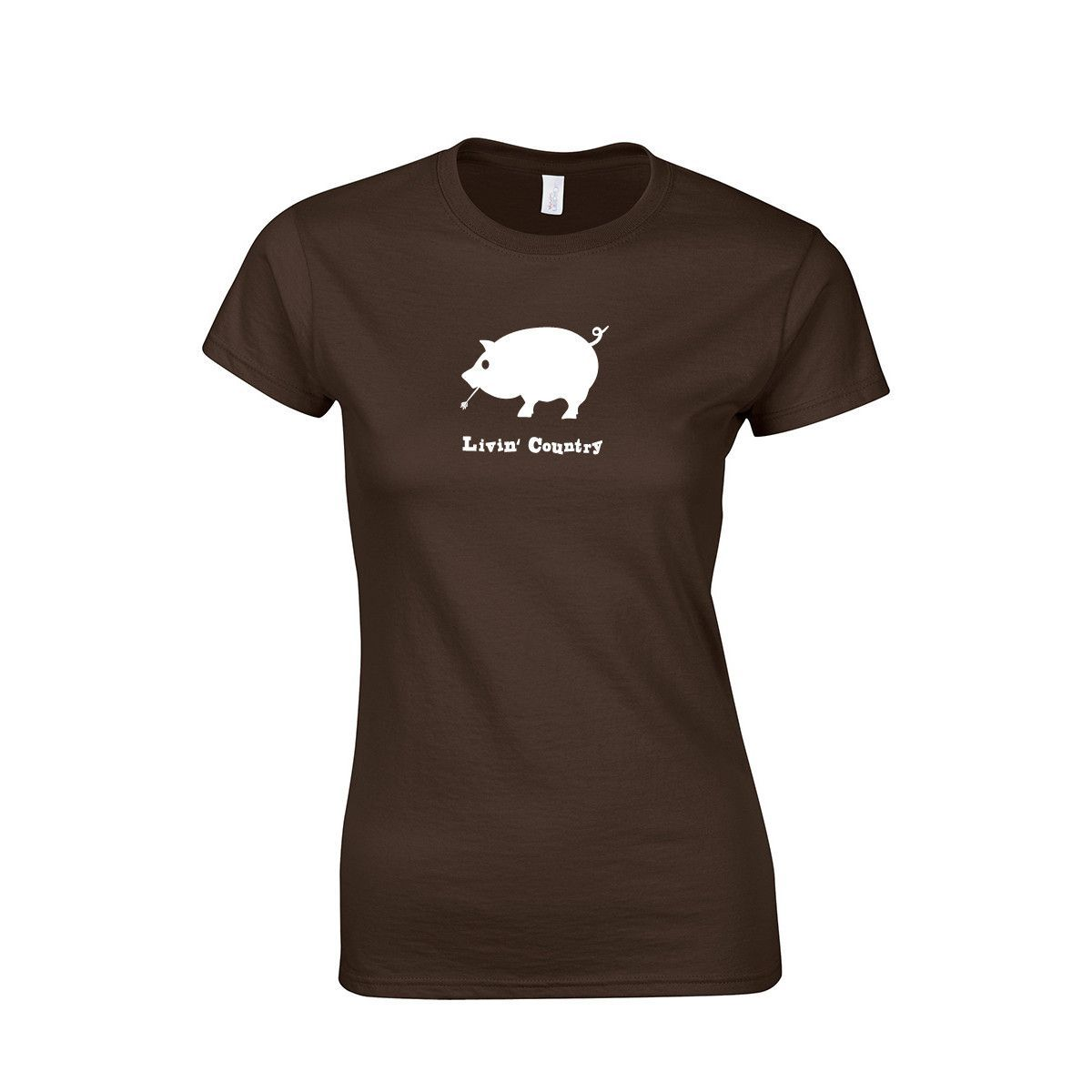 Ladies Jr. Fit Livin' Country Pig T-shirt