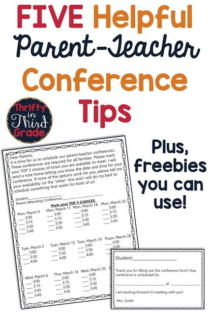 Tips and free resources to help you with your parent teacher conference! The fre…