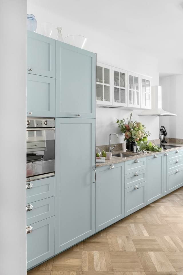 Cool mint / duck egg blue kitchen. Mix of Ikea base and ...