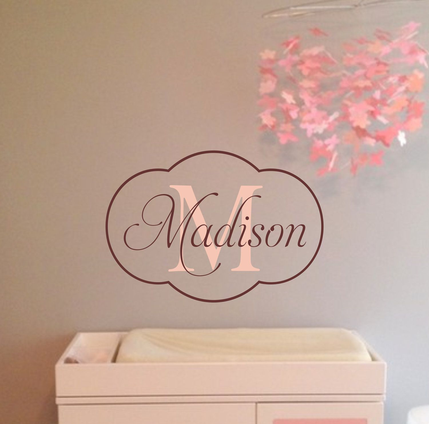 Baby Girl Nursery Wall Decal - Monogram Name Vinyl Lettering Childrens Wall Decal & Harper - in purple u0026 chocolae. Baby Girl Nursery Wall Decal ...