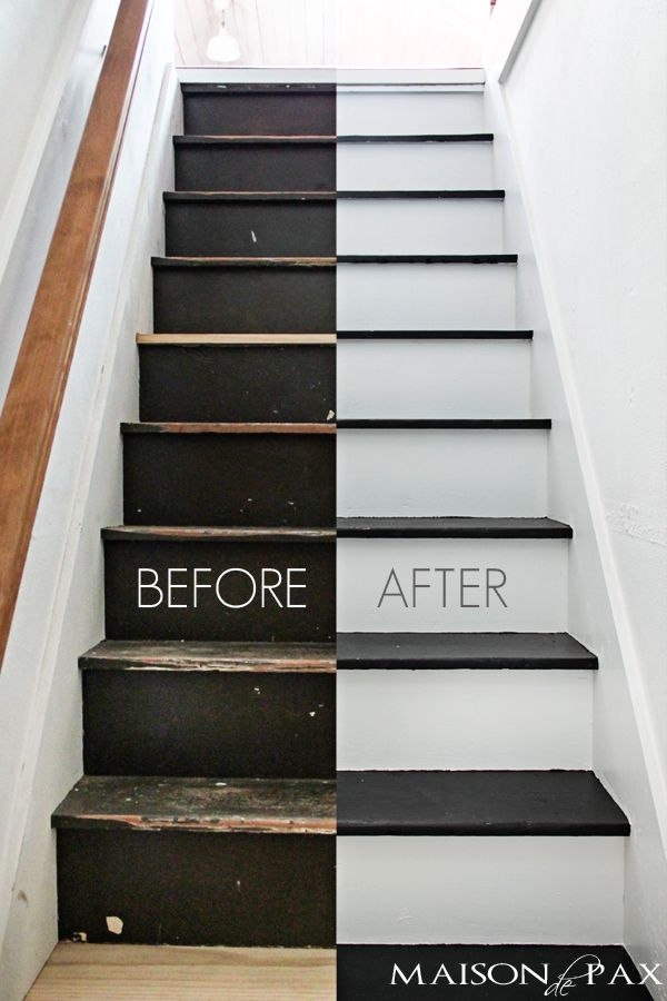 Black and White Painted Stairs  DIY Ideas  Attic stairs