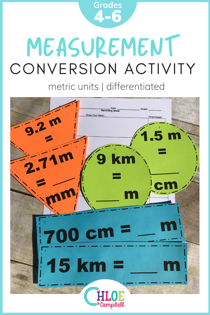 Measurement Conversions Metric Units Differentiated Around The Room Activity Measurement Conversion Activities Math Center Activities Measurement Conversions