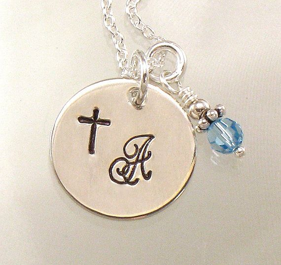 Cross Necklace with One Initial on a by dlnexpressionjewelry, $26.00