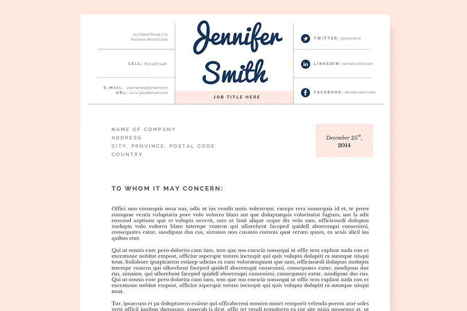 Pastel Resume, Cover Letter Template CoverResumePastel