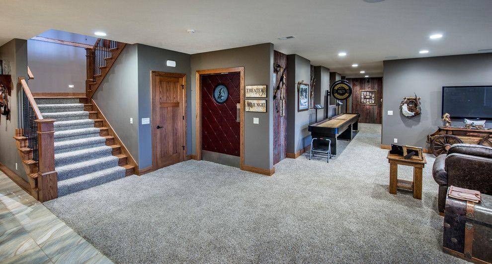 Gray Carpet And Walls Basement Craftsman With Metal