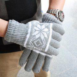 $3.73 Pair Of Simple Snowflower Pattern Design Men's Woolen Yarn Winter Gloves