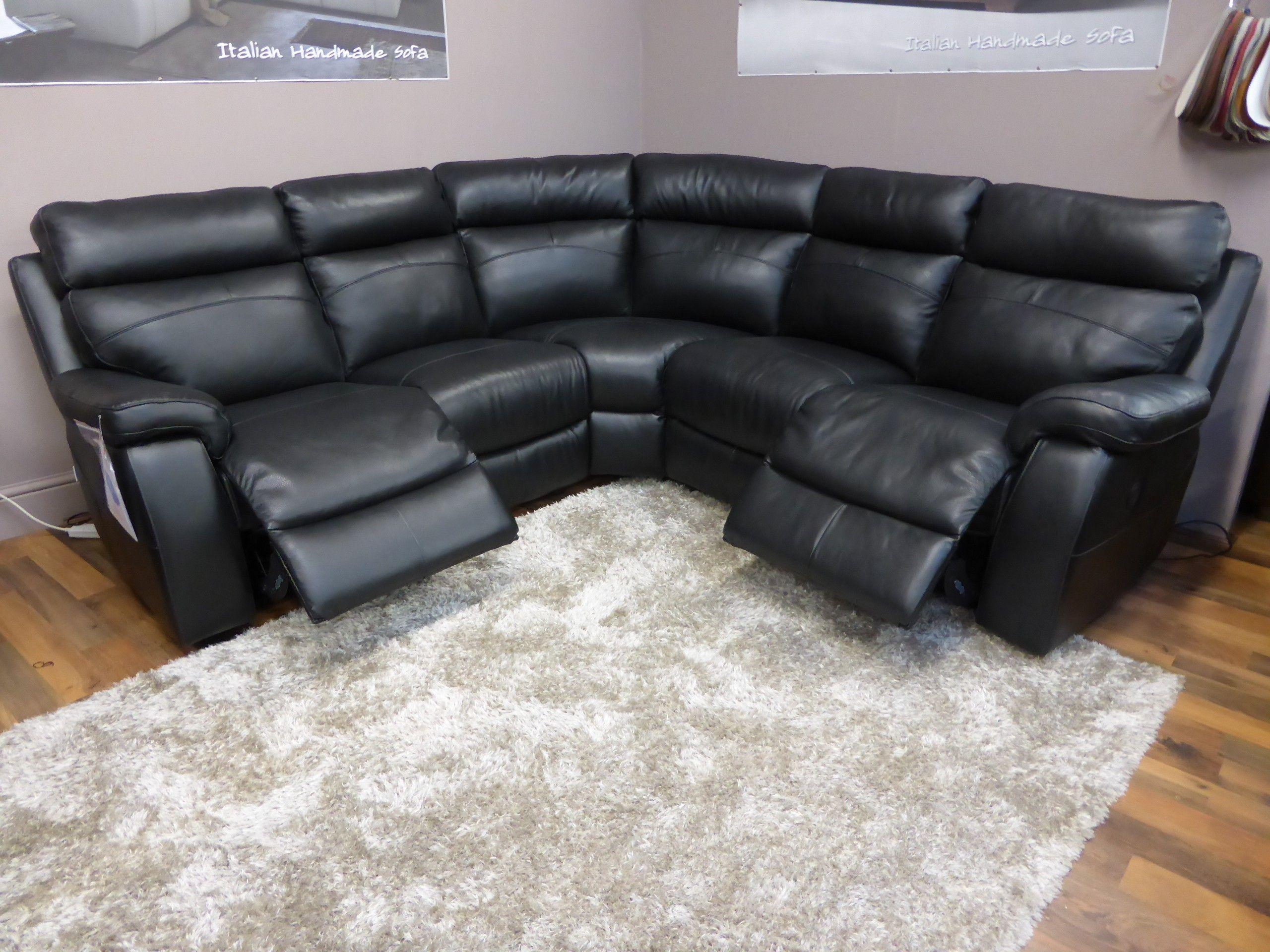 Furniture Living Room Black Genuine Leather Corner Sofa With ...