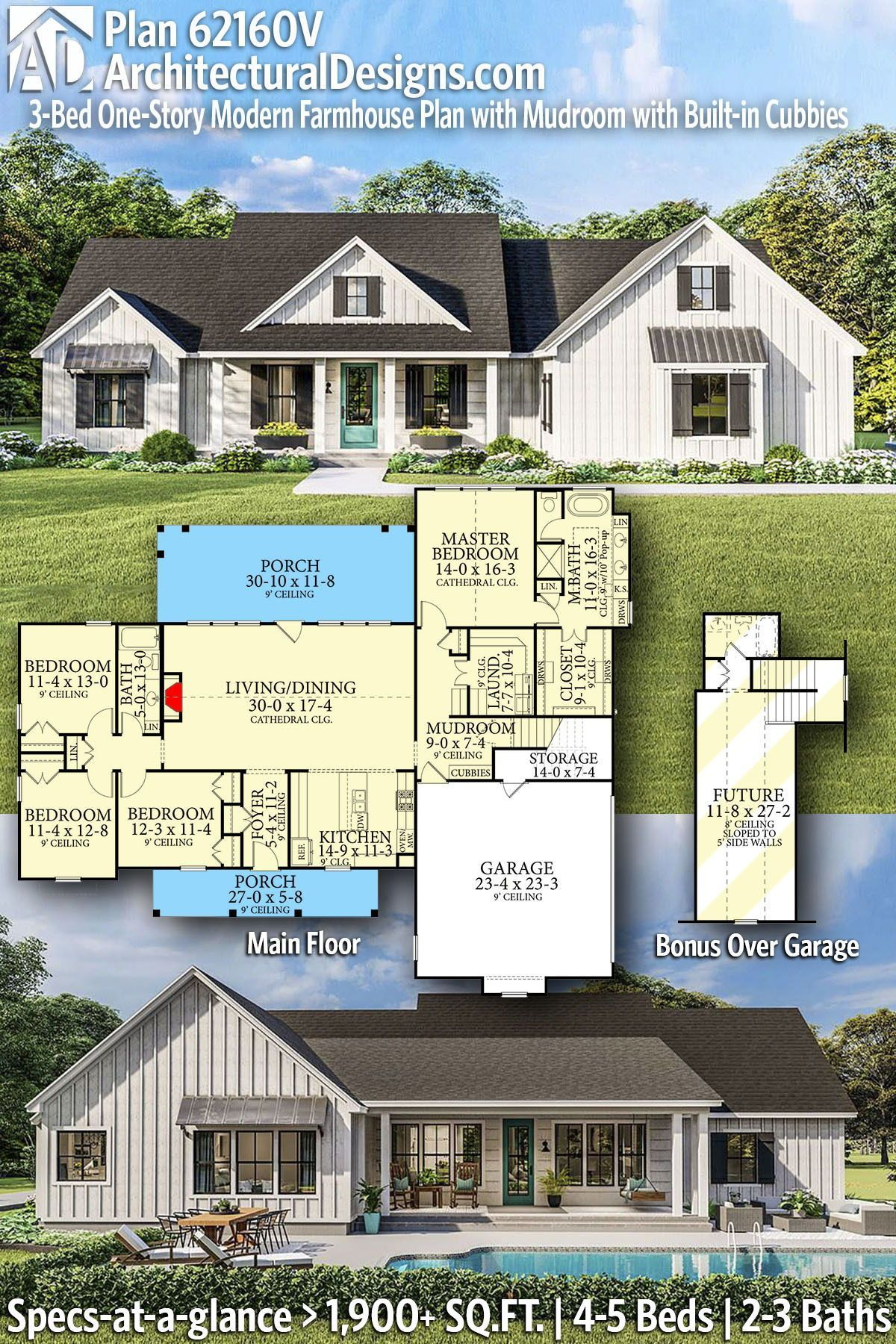 Plan V 4 Bed e Story Modern Farmhouse Plan with Mudroom with Built in Cubbies